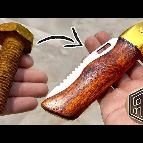 turning a rusted bolt into a beautiful folding pocket knife