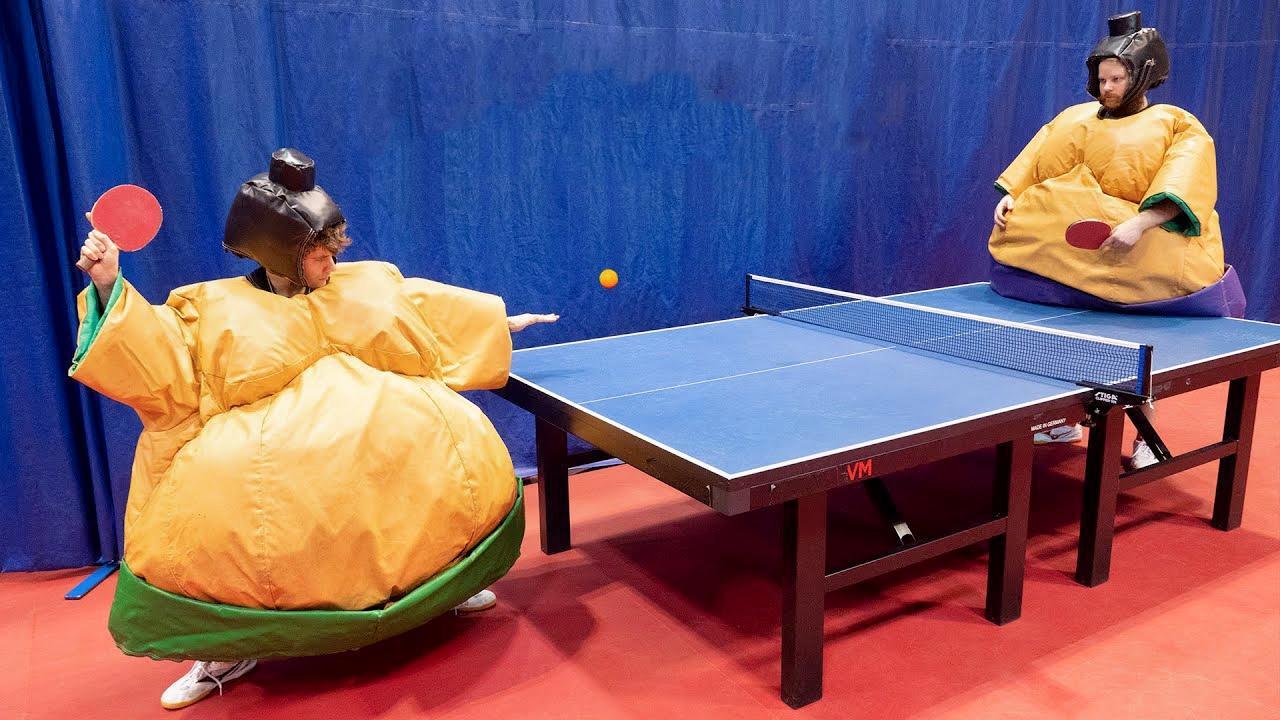 当相扑打乒乓球, 还是身大力不亏吗? 太欢乐, 你想不到的花式乒乓