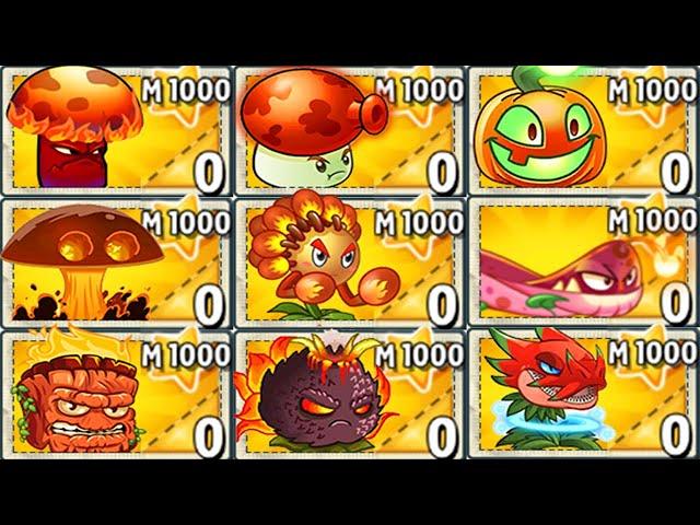 plants vs zombies 2 all fire plants mastery 1000 vs zombotany