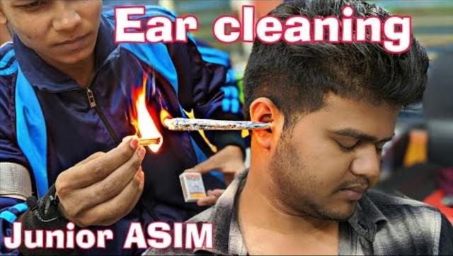 印度年轻小哥的火烟清耳, 头部、肩部、耳朵按摩, 颈部和耳朵开裂