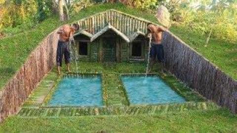 原始生存工具:在树根下盖房子+两个游泳池