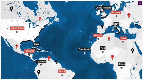 PR模板预设 世界地图连线路径动画工具包 预览