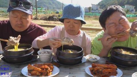 中字:韩国兴森一家人,妈妈做炖牛排汤,配泡菜,吃的那叫一个香