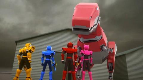 迷你特工队遇到了霸王龙机器人,霸王龙真的好凶猛呀!