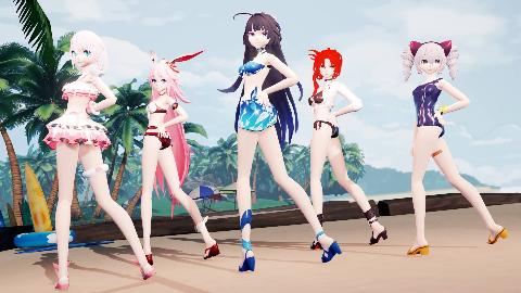 【GFriend 玻璃弹珠】沙滩上的泳装派对【崩坏3MMD】