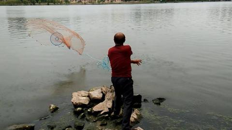 农村大叔河里扔撒网,风景优美心情很美丽,没有鱼获也开心