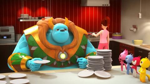 迷你特工队  家里来了一个大力士 每天要吃好多饭 做多少吃多少