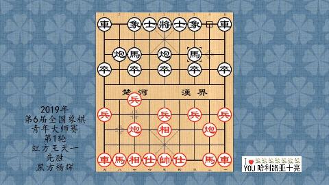 2019年第6届全国象棋青年大师赛第1轮,王天一先胜杨辉