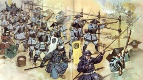 日本军事历史爱好者自制服装道具重演从明朝传入的火绳枪作战场景