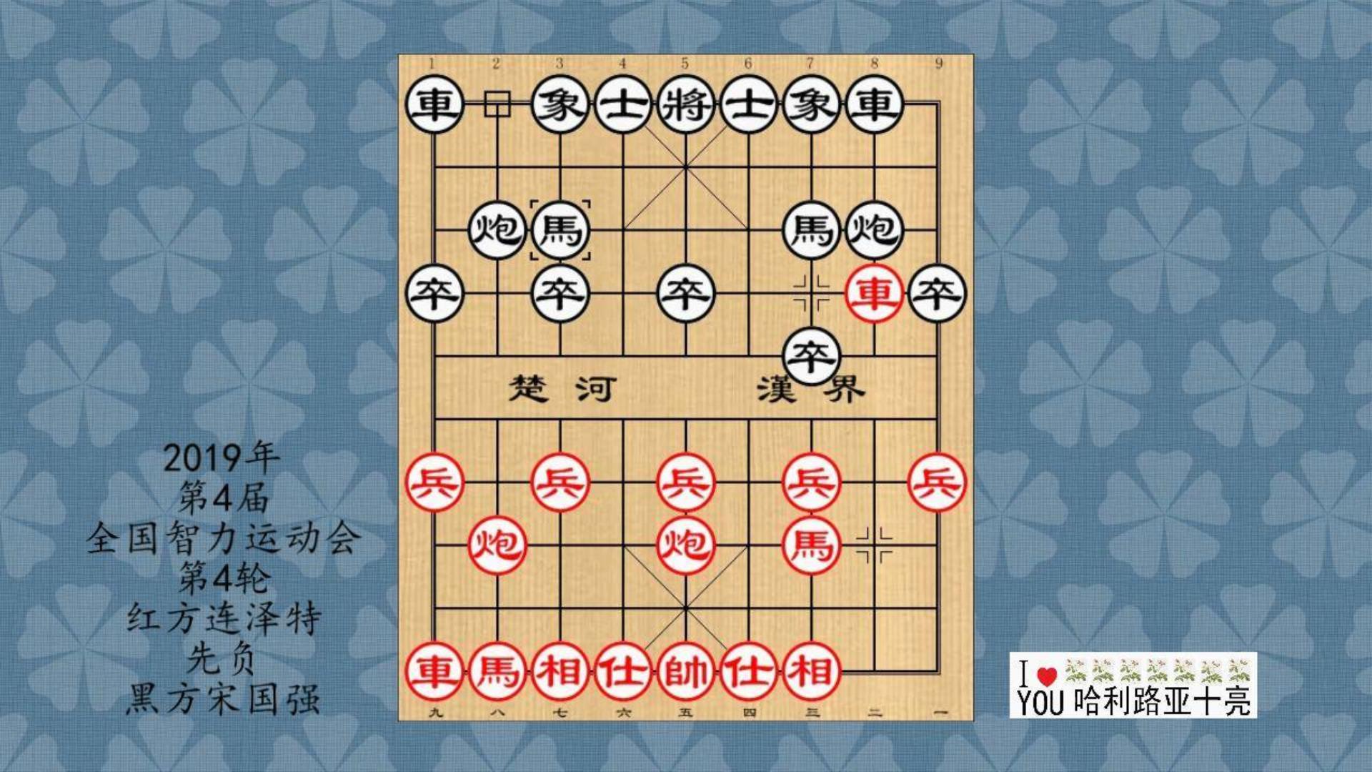 2019年第4届全国智力运动会象棋4轮,连泽特先负宋国强