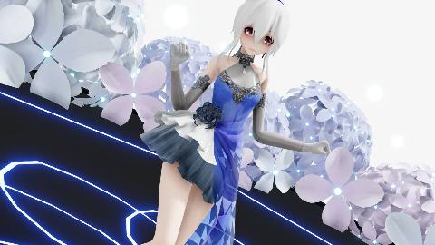 想和我去约会吗?蓝色礼服弱音【MMD】