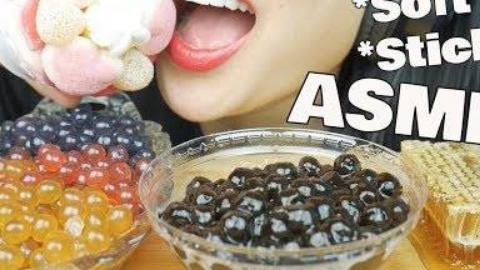 ASMR*最佳粘糊糊的进食声音(蜂巢+爆裂波巴珍珠+棉花糖)|SAS-ASMR