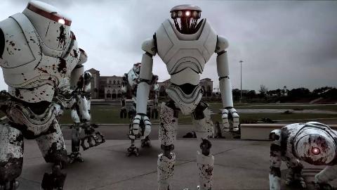 战斗机器人大战丧尸,战力堪比绞肉机,30秒后丧尸堆积如山!