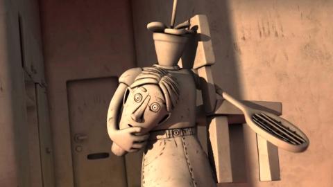 夫妻俩搬新家,妻子不知道怎么布置,就把头换成花瓶胳膊换成球拍