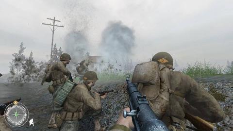 使命召唤2:无比震撼,顶着敌人的迫击炮的狂轰滥炸向前冲锋
