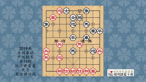 2019年象棋甲级联赛第14轮,黄蕾蕾先负黄竹风