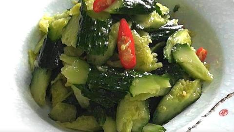 大厨教学:刀拍黄瓜,简单快手菜