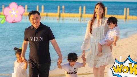 吴佩慈一家5口首次曝光,已确认怀孕第四胎是个女宝宝