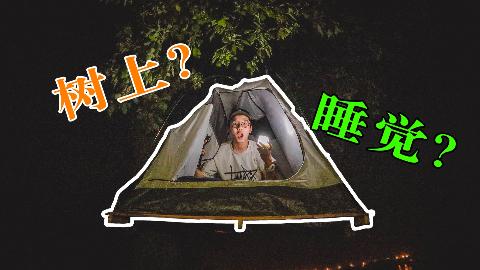 树上睡觉?小伙儿造了个房子挂在树上睡一晚会发生什么?