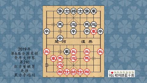 2019年第6届全国象棋青年大师赛第2轮,董毓男先胜李越川