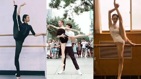 一字马020——北京舞蹈学院芭蕾系和古典舞系彩排,舞蹈生训练控腿以及拍摄,最后片段最强控腿
