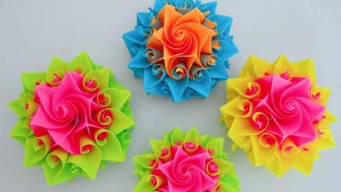 教你折纸花球,非常漂亮的折纸花球视频教程,用它装饰你的家!