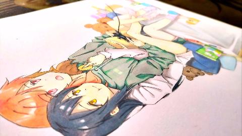 【马克笔/飘飘紫羽】第一期 画两只橘里橘气的小姐姐