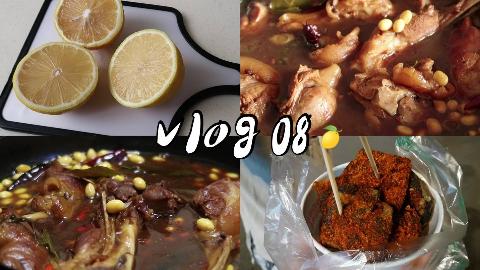 做饭VLOG08|二人食|超爱臭豆腐|黄豆焖猪蹄|柠檬益菌多|醋溜白菜|又是简单的一天