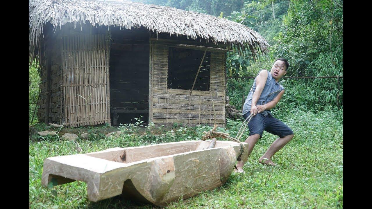野外技能:如何收获水稻? 第二部分:制作木槽
