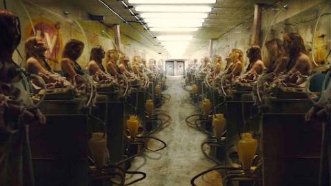 一群女人被当牲畜圈养,简直就和奶牛一样,身上还插着各种管子