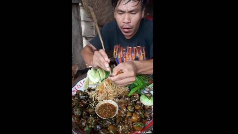 【东南亚吃播】老挝美食,野草下田螺,好吃又快活