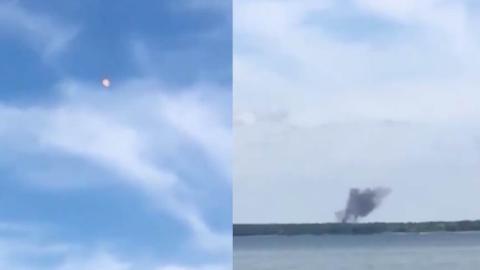 德国两架台风战机相撞后变成火球垂直下坠 坠落后引发大火