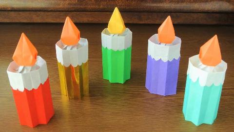 简单又好看的折纸生日蜡烛,朋友生日时折几个摆在桌上,创意十足!