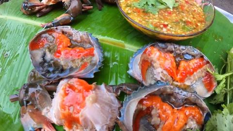 【东南亚吃播】美女姐姐吃金灿灿梭子蟹,好恰到飞起