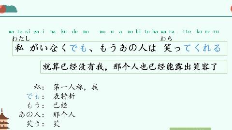 日语每天一句:私がいなくでも、もうあの人は笑ってくれる就算已经没有我,那个人也已经能露出笑容了