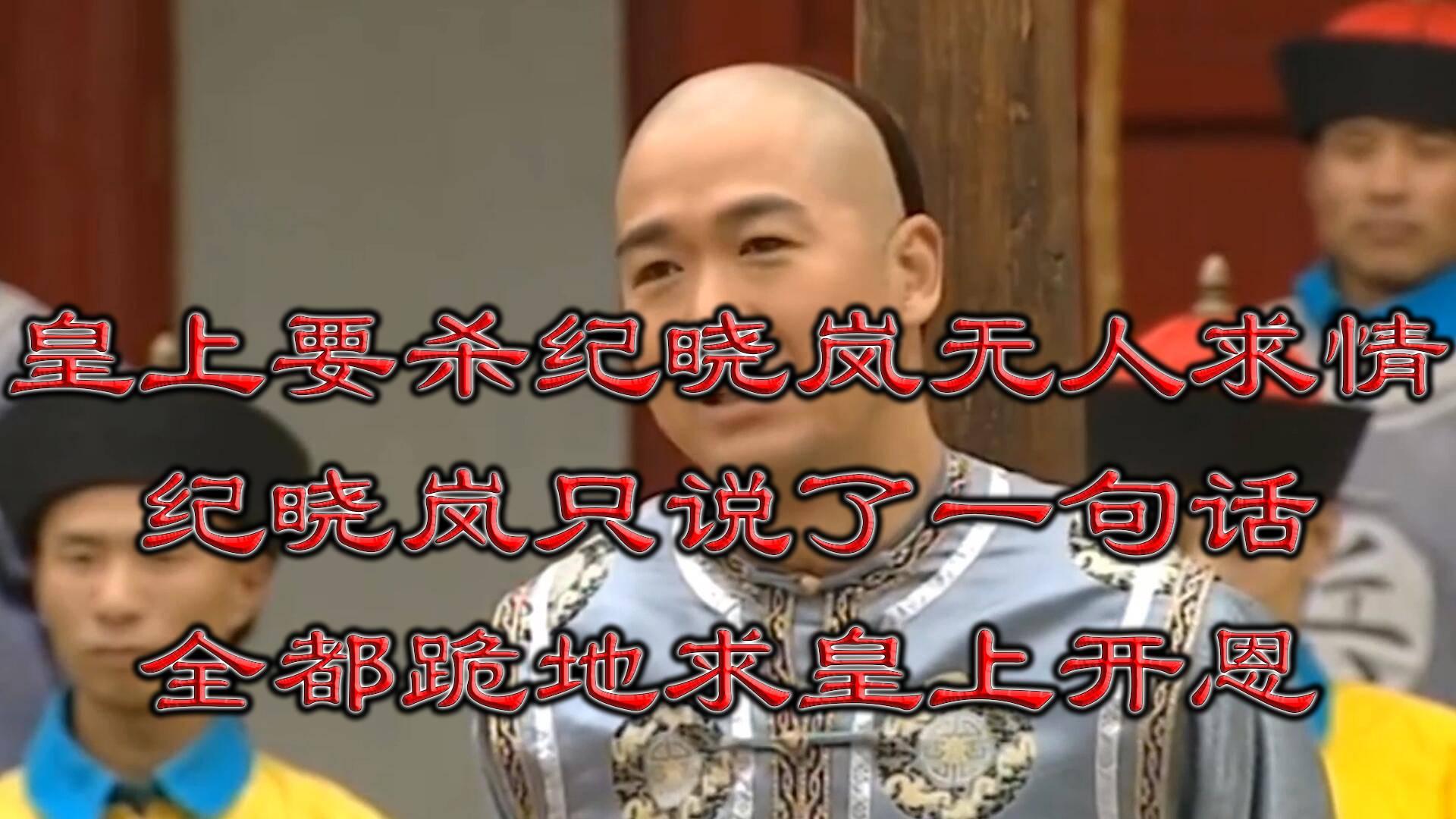皇上要杀纪晓岚无人求情,纪晓岚只说了一句话全都跪地求皇上开恩