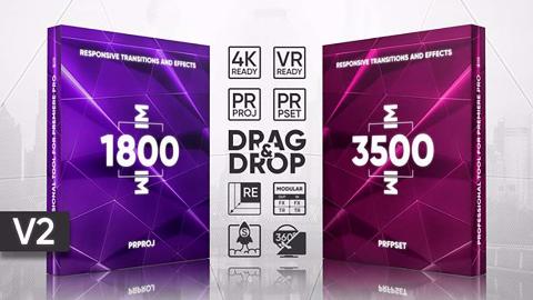 PR预设模板+5000+扭曲模糊冲击移动切割视频转场特效工具包V2