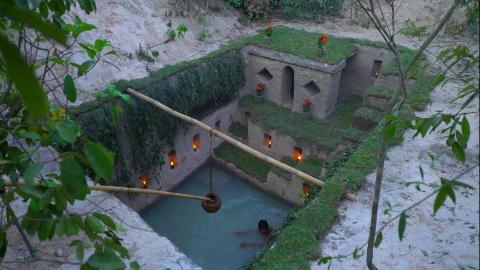 【野外建造】野外挖掘建造最好的秘密古地下深水池和地下房子