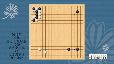 2019年围棋男子甲级联赛第12轮,金志锡VS周睿羊,白中盘胜