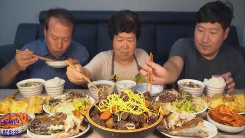 中字:韩国兴森一家人,中秋节吃大餐,排骨牛肉鱼,超丰盛