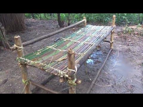 [野外生存技巧]--制作竹床和枕头