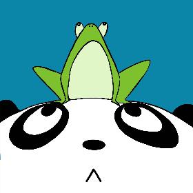 顶着青蛙的小熊猫