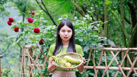 住在农村的好吃就是地里随便摘几种瓜瓜,就可以吃一顿,味道还好