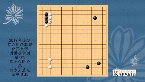 2019年国际智力运动联盟世界大师围棋赛第4轮,白昕卉VS王晨星,白中盘胜