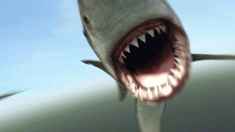 100米长巨鲨大战史前食人鳄,美国5毛特效竟然这么渣