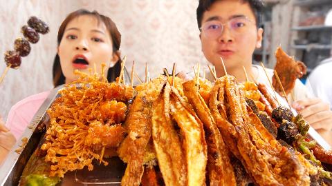 100元在东北吃炸串,上来一大盘,嘎吱嘎吱脆得头皮都酥了!
