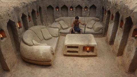 原始生活!掘地武士的精致生活从拥有沙发开始!