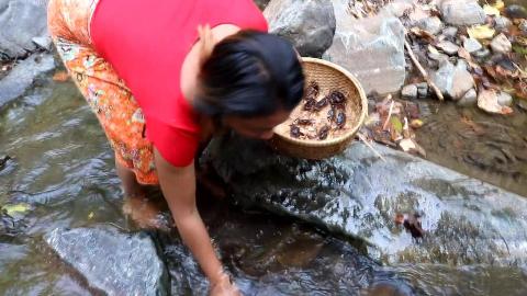 大姐在山沟沟里面抓到螃蟹,做一道原始美食,味道不输小龙虾和霸王蟹