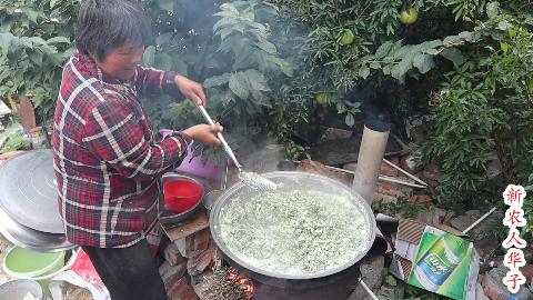 农村大妈做了一大锅渣腐菜,比大鱼大肉都好吃,一人吃两碗真过瘾