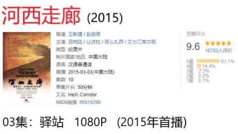 【纪录片:河西走廊】03集:驿站   1080P   (2015年首播)